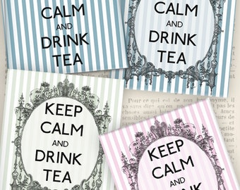 Tea Bag Envelope Keep Calm and Drink Tea instant download digital collage sheet VD0592