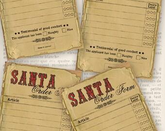 Santa Order Form christmas printable gift list hobby crafting printable digital graphics instant download digital collage sheet - VDMICH0986