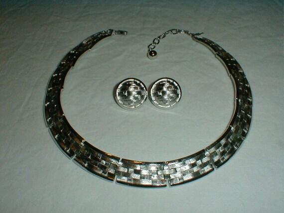 Basket Weaving Jewelry : Vintage trifari basket weave set necklace by