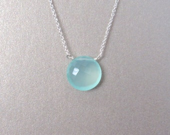 Aqua Chalcedony Necklace - Gemstone Necklace - Silver Necklace - Aqua Necklace