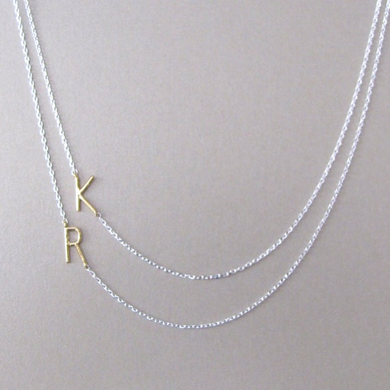 layering 2 initial necklace initial necklace custom