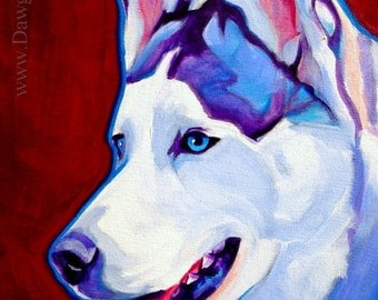Husky, Pet Portrait, DawgArt, Dog Art, Husky Art, Original Painting, Pet Portrait Art, Colorful Dog Art, Husky Painting