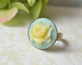 Gift for daughter Adjustable Ring rose Statement ring mint jewelry rose ring flower ring romantic jewelry cocktail ring