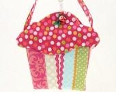 Cupcake Purse handmade goodie bag cloth gift bag Easter basket, May Day, girls birthday CC232