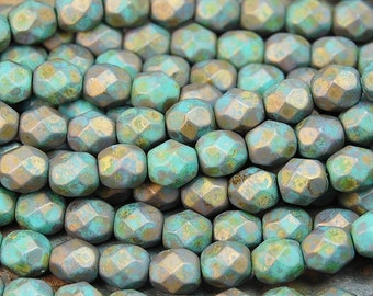 Copper Picasso - Turquoise Czech Glass Firepolished 6mm Beads -25