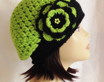 "Slouch beanie,cloche,cap,hat with flower lime green and black fits teen - adult adult 20""-22"""