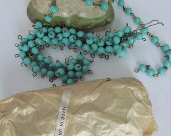 6mm Vintage Japanese Robin Egg Blue Glass Two ended Hoop Beads