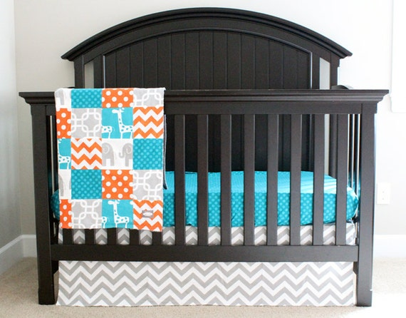 Items similar to Teal and Orange Crib Bedding Elephant