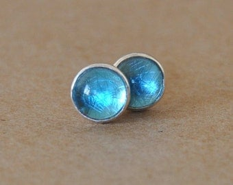 Swiss blue Topaz Earrings with Sterling Silver Studs. 6mm Cabochon Gemstones