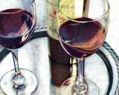 Art Print Red Wine Silver Tray Wine Glass Food Kitchen Wall Decor 5 x 7, 8 x 10, 11 x 14