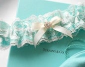 Wedding Garter SET 5 Colors Lace IVORY  WHITE Antique Ivory Light Blue and Black Lace over Satin Pearl and Rhinestone Setting
