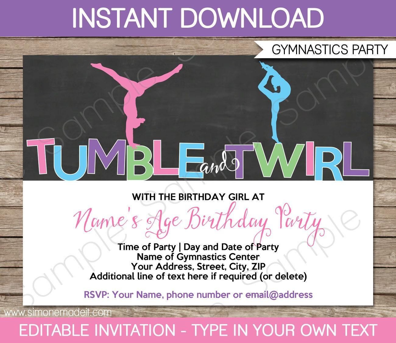 Gymnastics Invitation Template Gymnastics Birthday Party