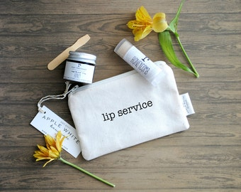 Lip Service Lip Balm and Lip Scrub Gift Set with Canvas Zipper Pouch, Stocking Stuffers
