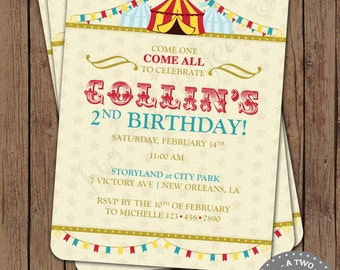 Carnival Circus Birthday Invitation County Fair Games Big Top Modern Vintage Digital Printable DIY