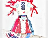 HANDMADE Primitive Folk Art Americana Patriotic Raggedy Annie Doll Flag by FosterChild Whimsy