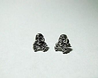 Silver Stud Earring Set,   Small Skulls  Mens Womens Gift  Handmade