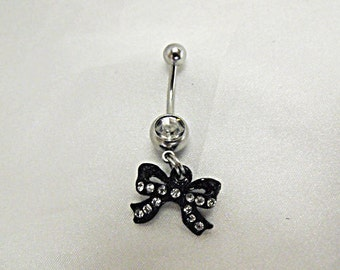 Belly Ring,  Small Black Bow With Rhinestones, Womens Gift Handmade