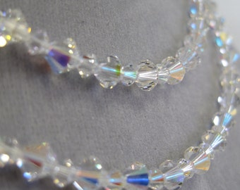 Double strand Swarovski crystal bridal necklace.