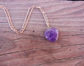 VALENTINES GIFT Amethyst heart on gold plated chain