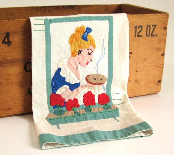Antique Kitchen Tea Towel Hand Appliqued Embroidered Woman with Pie Geraniums Red Blue Green 1950s Kitchen Decor