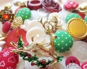 Buttons Christmas Mix and Vintage Brooch DIY Supplies