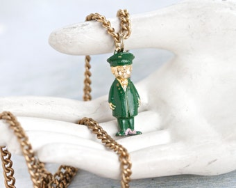 Mr Postman Necklace - Miniature Figure Pendant on Long Chain - Quirky Jewelry