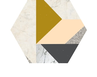 Art Print - Marble Hexagon ' 50x70 cm Art Print Posters Modern Art Prints Wall Art Prints Geometric Poster Geometric wall art