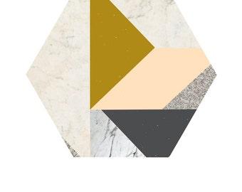 Art Print Poster - Marble Hexagon ' 50x70 cm Posters Modern Art Prints Wall Art Prints Geometric Poster Geometric wall art