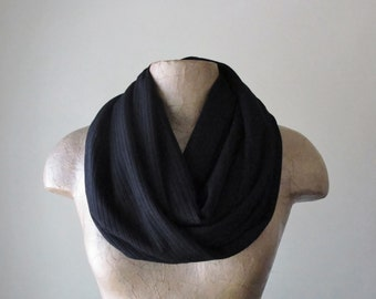 BLACK Sweater Scarf - Ribbed Knit Infinity Scarf - Jet Black Circle Scarf - Fall Fashion Scarf