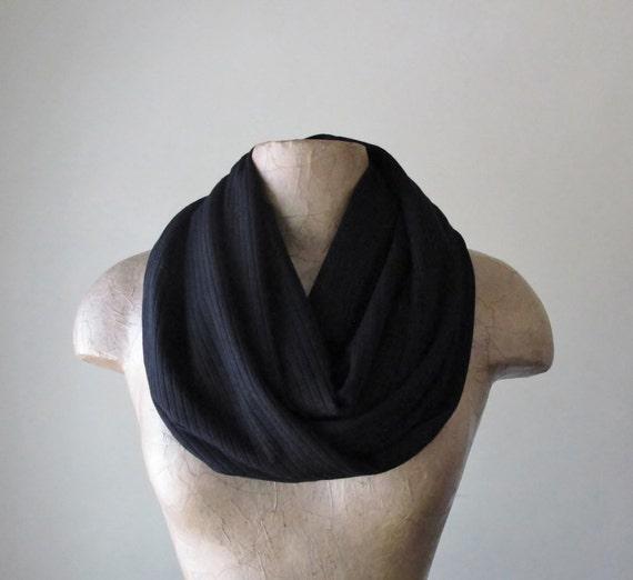 BLACK Sweater Scarf - Ribbed Knit Infinity Scarf - Jet Black Circle Scarf - Fall Fashion Scarf