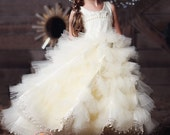 """Couture flower girl / special occasion dress tutu skirt, venice lace and pearl accents on bodice - """"Beatrice"""" by FabTutus - custom colors"""