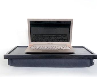 Dining serving or Laptop Lap Desk- Black with Dark Grey Pillow