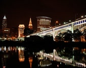 Cleveland Ohio Skyline at Night Photography Print