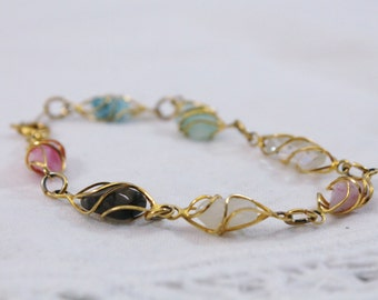 Pretty Gold Wire Wrapped Multi Stone Bracelet