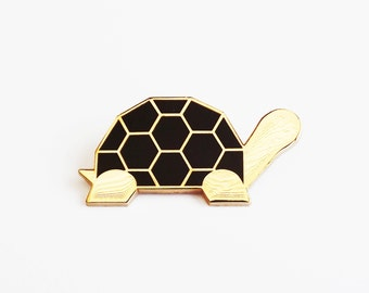 Tortoise Brooch - Black and White Geometric Metal Pin Turtle