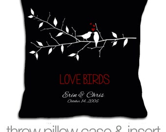 Adorable love birds pillow - wedding gift pillow - personalized with couples names and dates