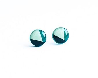 Emerald earrings studs Geometric jewelry post earings lead free earrings