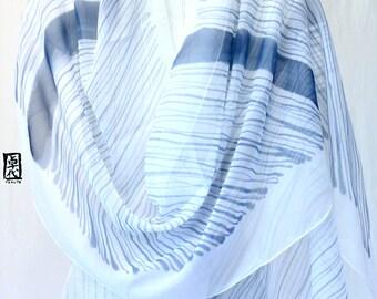 Hand Painted Large Silk Scarf, Blue Silk Scarf, Zen Navy Blue Stripes Scarf, Silk Chiffon Scarf. Silk Scarves Takuyo. 22x90 inches.