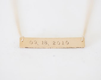 Personalized Gold Name Plate Bar Necklace - customized name plate in 14k gold filled