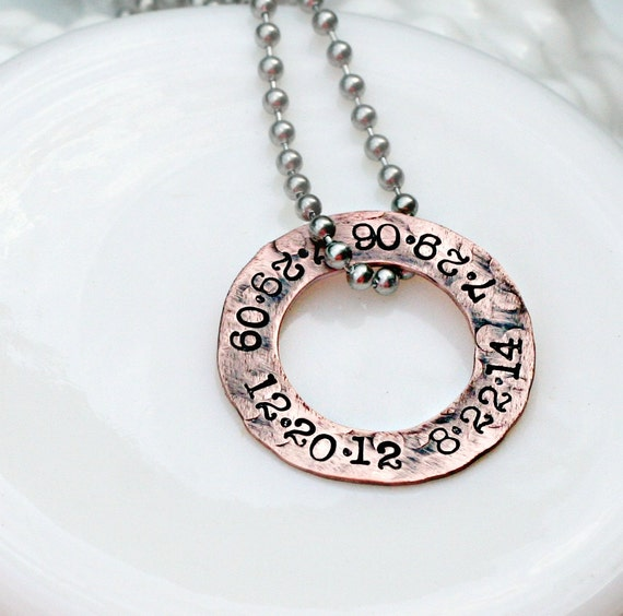 Hand Stamped Mens Necklace - Rustic Copper Washer - Hand Stamped Jewelry - Personalized Necklace