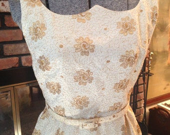 50s Hollywood Gold Lame Wiggle Dress with belt Size Small VaVoom Pin Up Glamour Burlesque Vegas