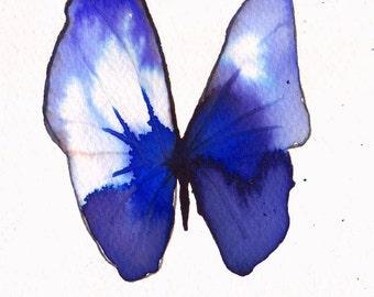 "violet blue purple  butterfly original watercolour painting 7 x 5"""