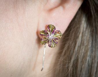 Flower earrings studs Purple earrings Green earrings Ear pin Wire earring Flower jewelry Colorful earring Delicate earrings Bridesmaid gift