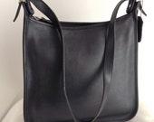 Vintage Coach Black Leather Andrea Slim Hobo Shoulder Bag 9073 Made in USA