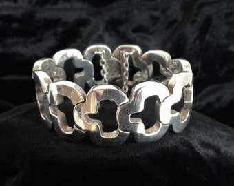 Authentic Vintage Antonio Pineda Greek Key Bracelet, Mexican Midcentury Modernist, 970 Silver