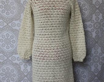 Vintage 1970's Cream Crochet Dress Medium