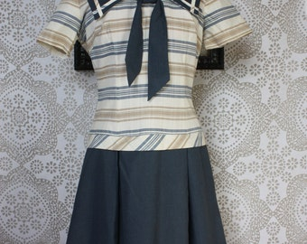 Vintage 1950's 60's Drop Waist Sailor Bodice Dress M/L