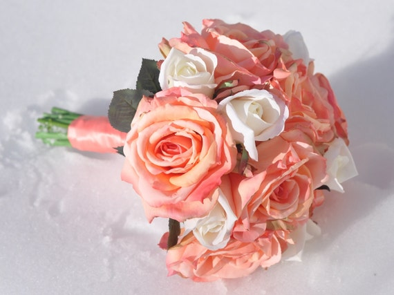 silk wedding flower bridal bouquet made with coral roses. Black Bedroom Furniture Sets. Home Design Ideas