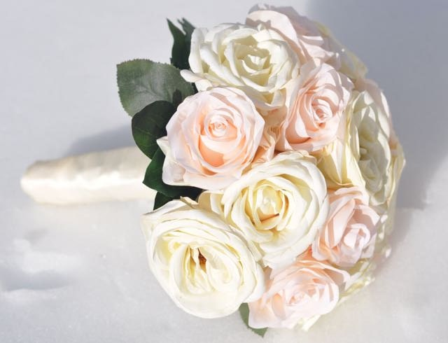 Peach Garden Rose peach garden rose with champagne ivory roses bride wedding