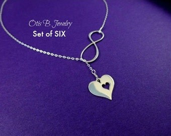 Bridesmaid gifts,SET of 6: Bridesmaid necklaces, Infinity necklaces, Y necklace,  Bridesmaid gifts, Sterling silver, Lariat necklace